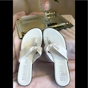 Italian Shoemaker White Leather Thong Wedge Heel